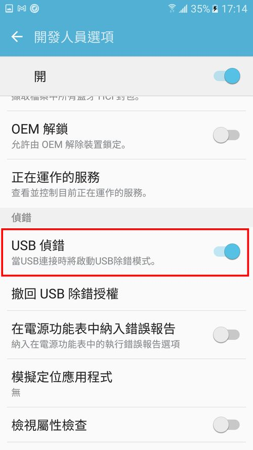 開啟USB偵錯模式