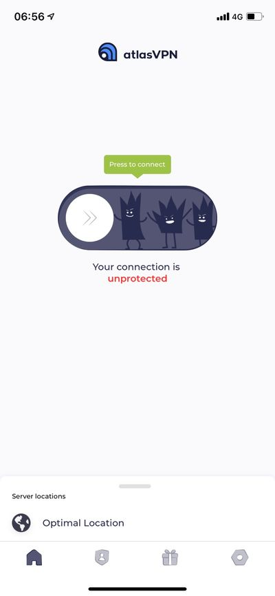 Atlas VPN 手機版介面