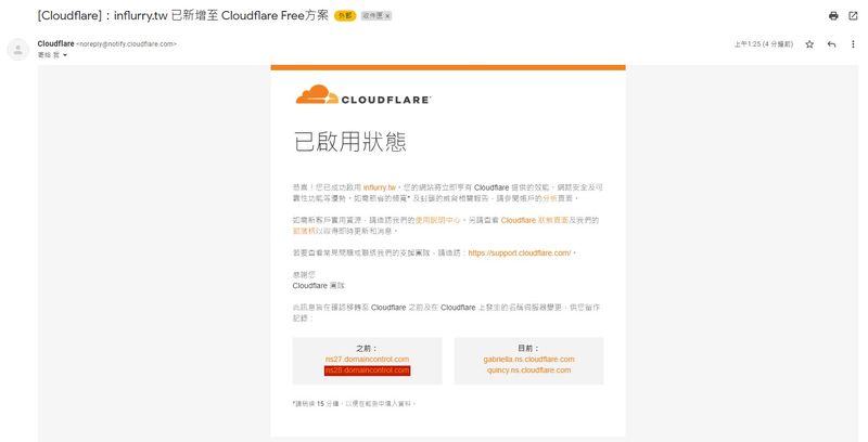Cloudflare 已啟動狀態