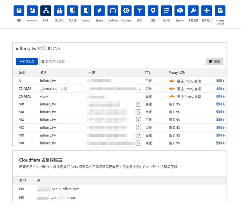 Cloudflare 後台 DNS 管理介面